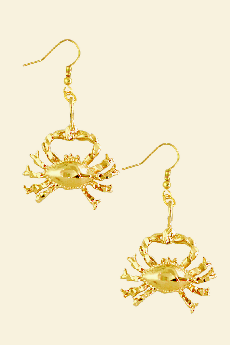 The Crab (Cancer) - 24K Gold Filled Vintage Earrings