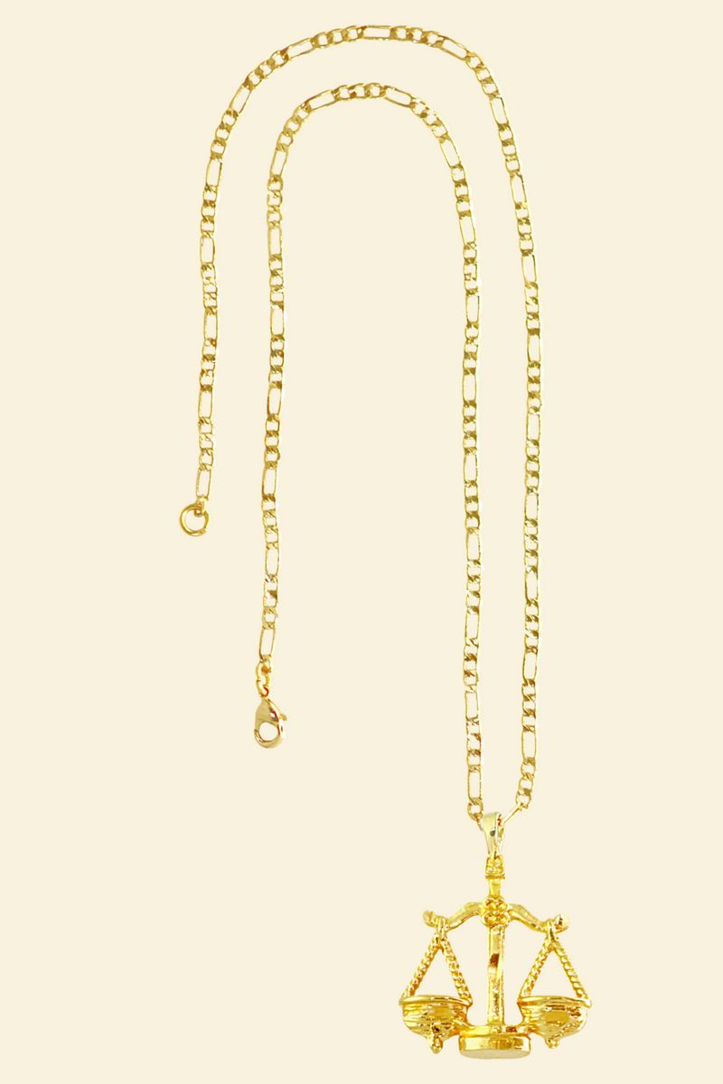 The Scales (Libra) - 24K Gold Filled Vintage Necklace