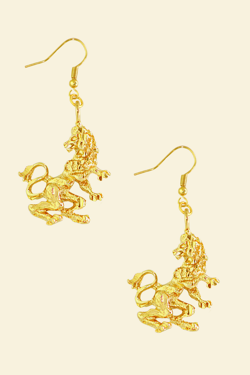 The Lion (Leo) - 24K Gold Filled Vintage Earrings