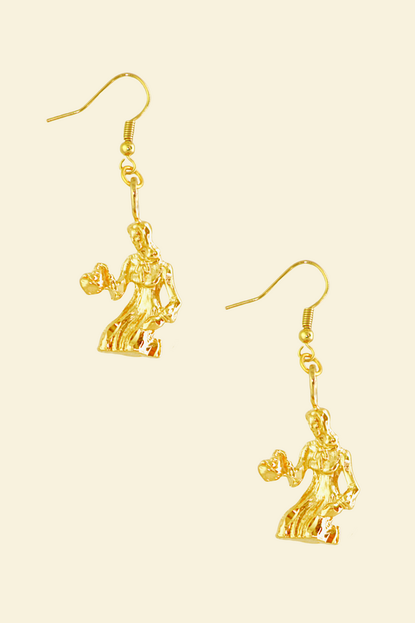 The Maiden (Virgo) - 24K Gold Filled Vintage Earrings