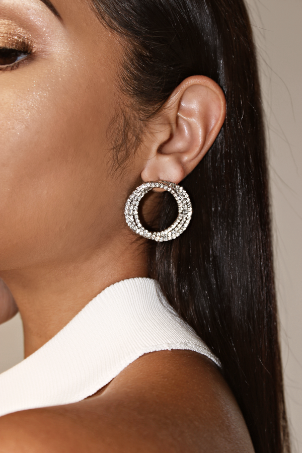SERENITY GALA CIRCULAR LAYERED EARRINGS - SILVER