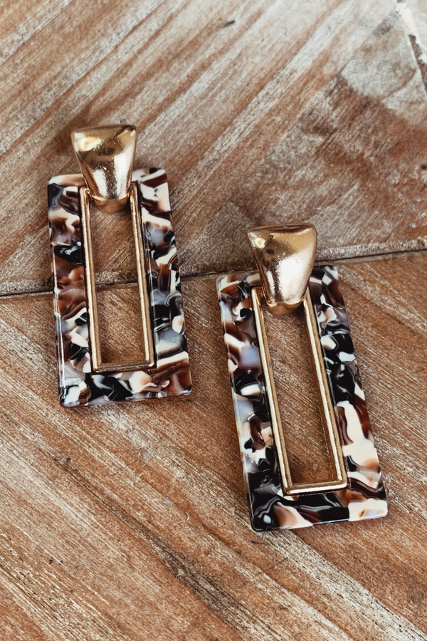 GOLD & TONES DETAILED DROP EARRINGS