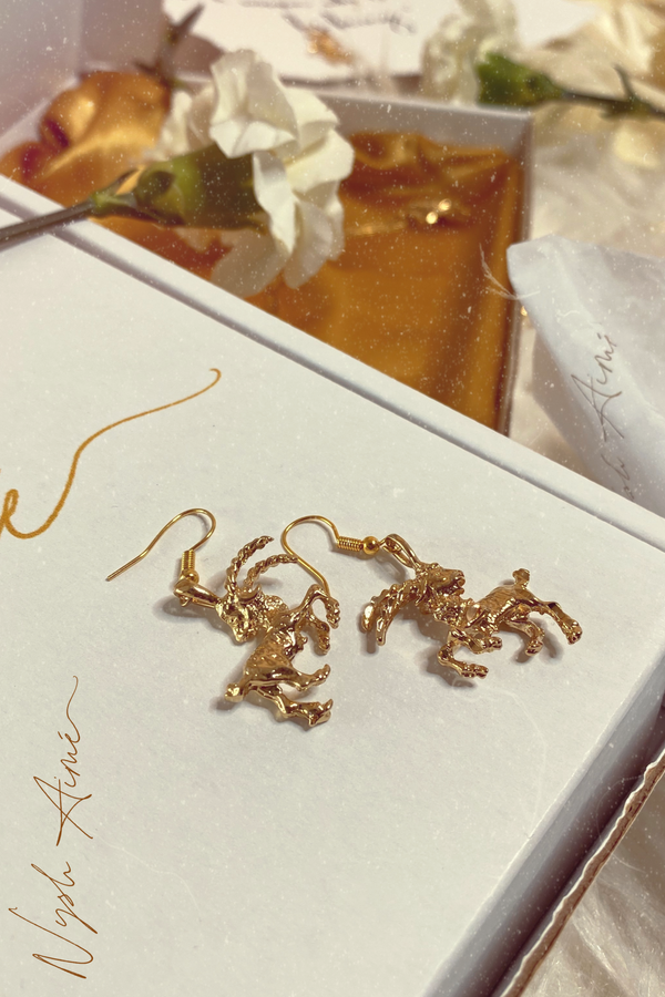 The Sea Goat (Capricorn) - 24K Gold Filled Vintage Earrings