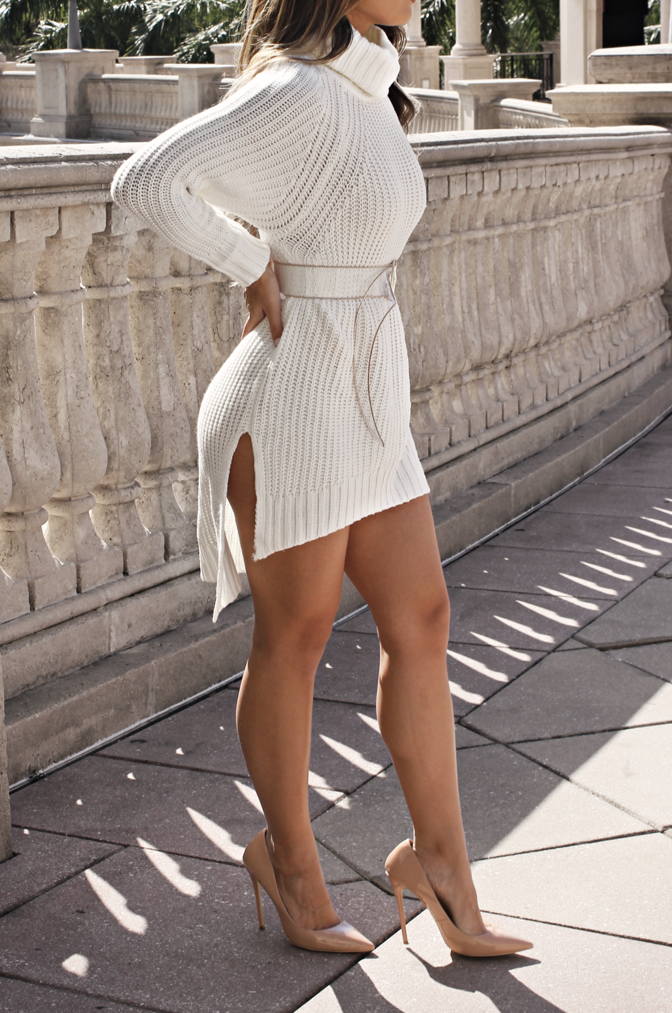 ROYALTY DUAL SLIT KNITTED DRESS