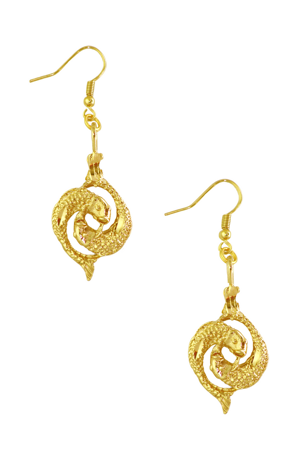 The Fish (Pisces) - 24K Gold Filled Vintage Earrings