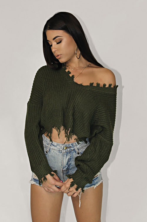 DETAILED EDGY SWEATER TOP - OLIVE
