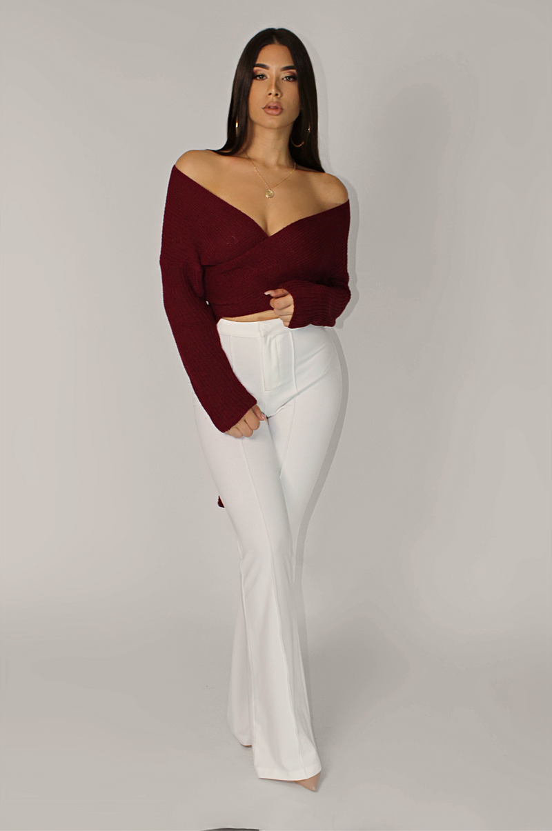 WINE FENTY CROSSOVER WRAP KNIT SWEATER