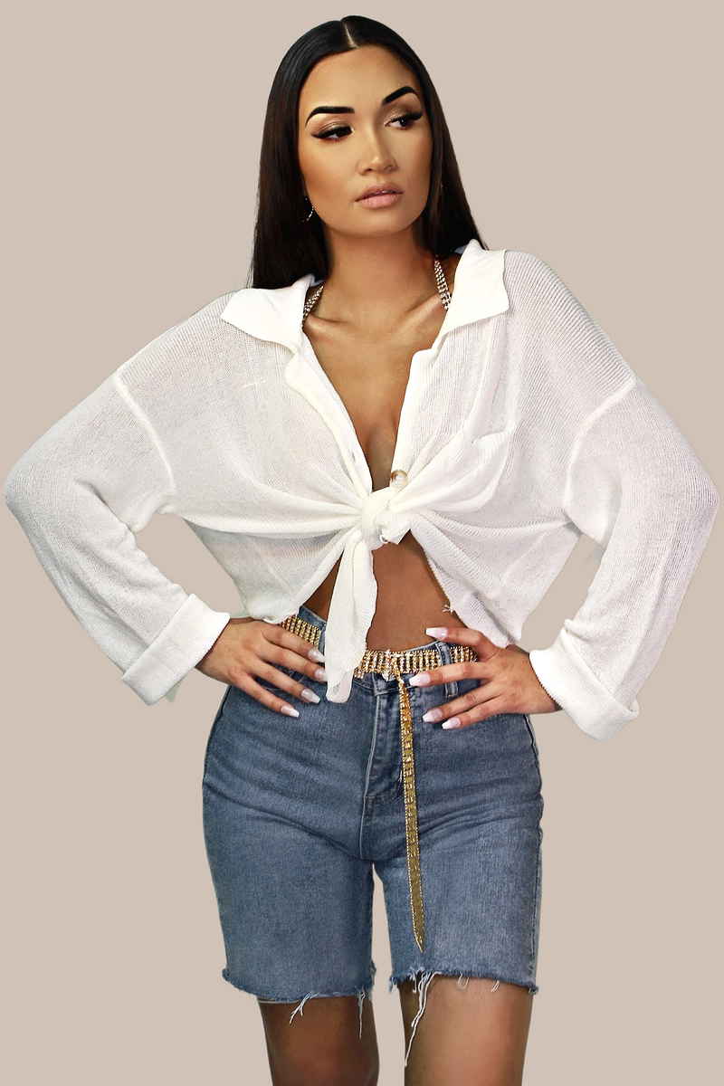 Romance Linen Knit Sweater Top - Ivory