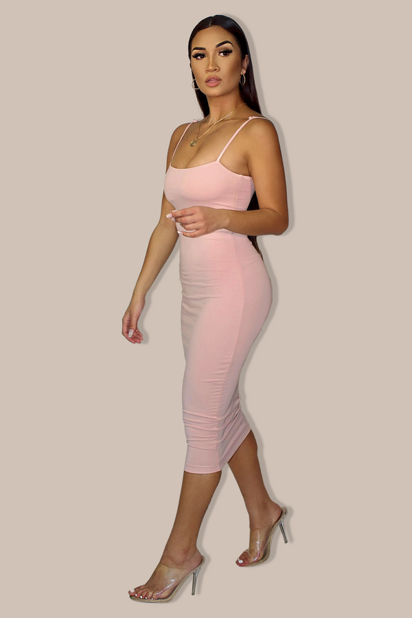 MID LOUNGE PLUNGE DRESS `Blush