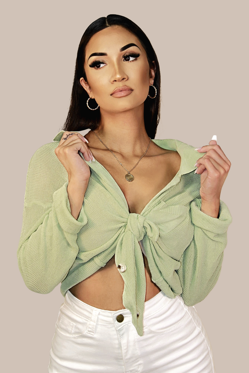 Romance Linen Knit Sweater Top - Mint