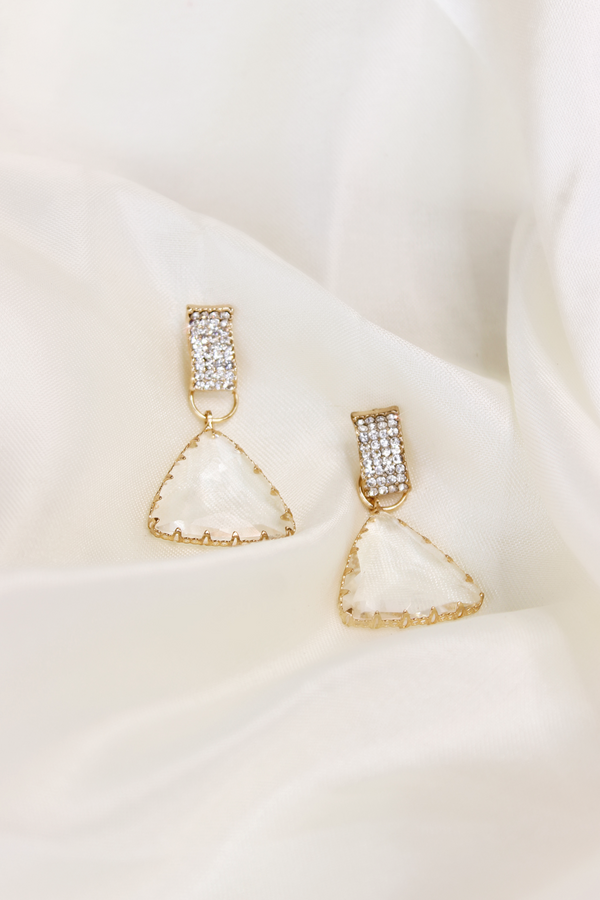 GALA CLEAR x GLD TRI DROP EARRINGS
