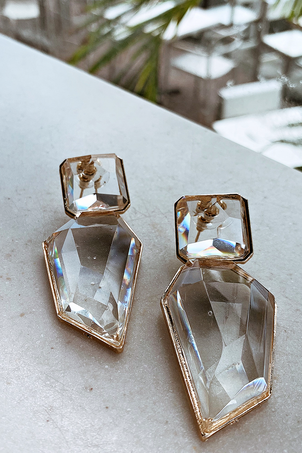 CRYSTAL CLEAR GLD DETAILED EARRINGS