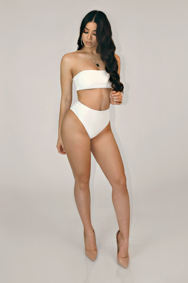 WHITE TWO PIECE SWIM SET