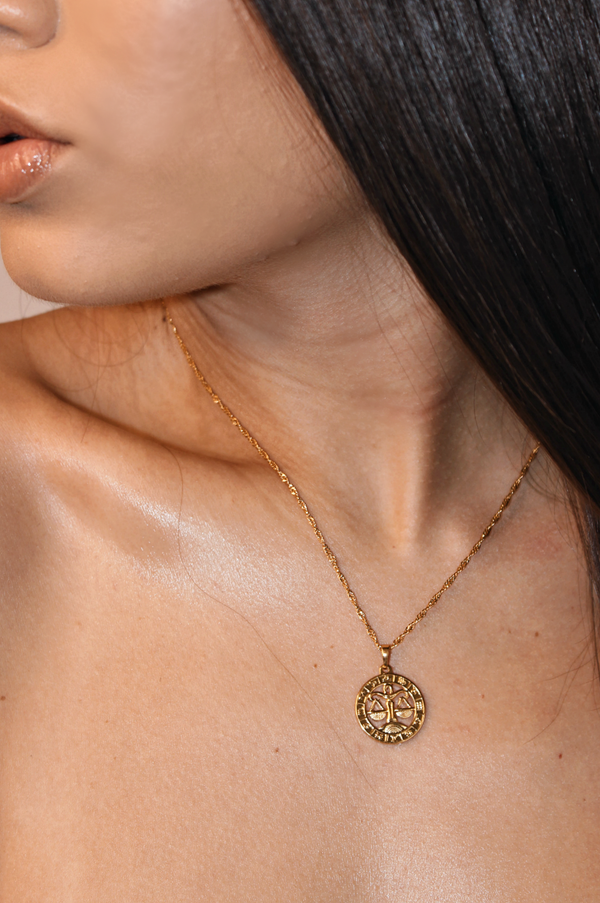 LIBRA 24K GOLD PLATED ZODIAC NECKLACE