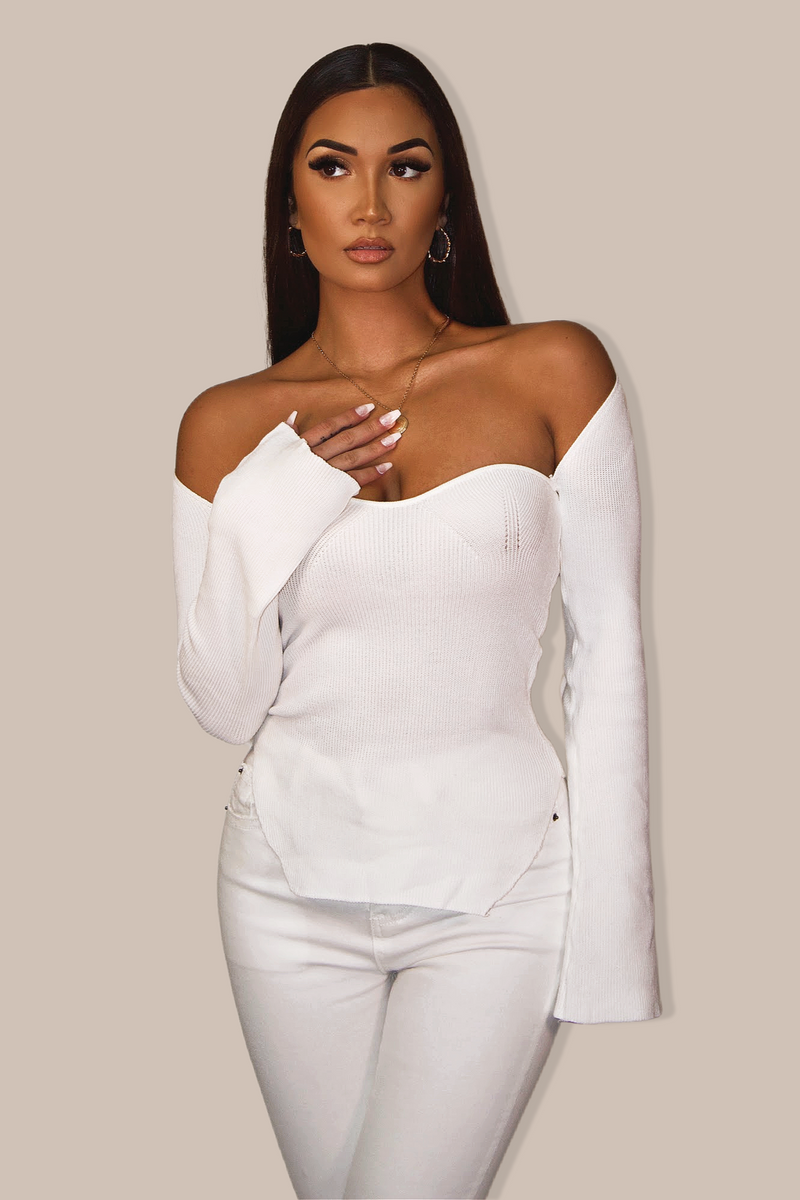 Noble Long Sleeve Bustier Top `White