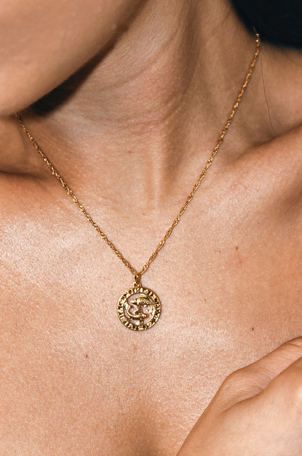 PISCES 24K GOLD PLATED ZODIAC NECKLACE