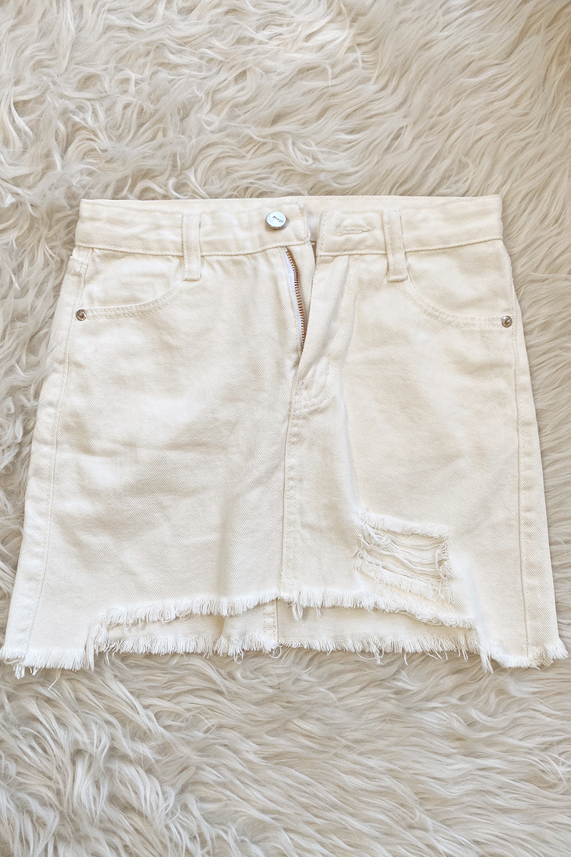 (SIZE MD) IVORY DISTRESSED SKIRT