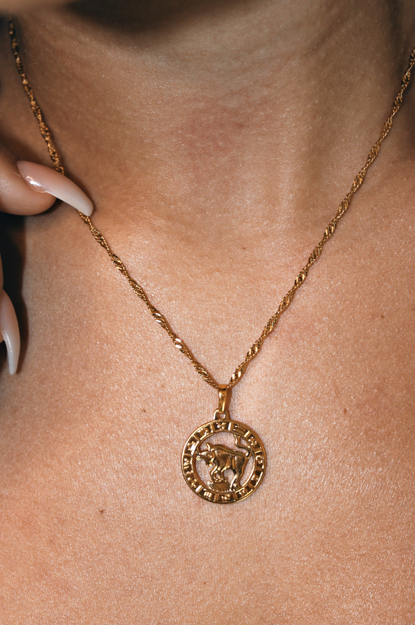 TAURUS 24K GOLD PLATED ZODIAC NECKLACE