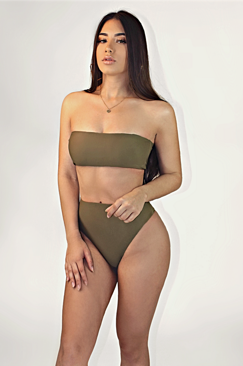 OLIVE TWO PIECE SWIM SET