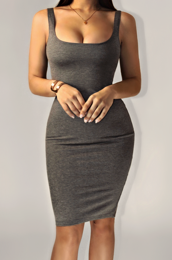 GRAY LUX BASICS TANK DRESS