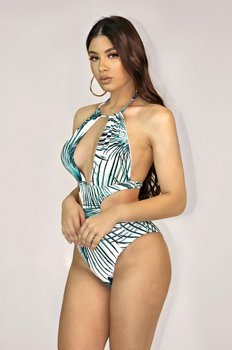 TIKI PALM TREE HALTER SWIM