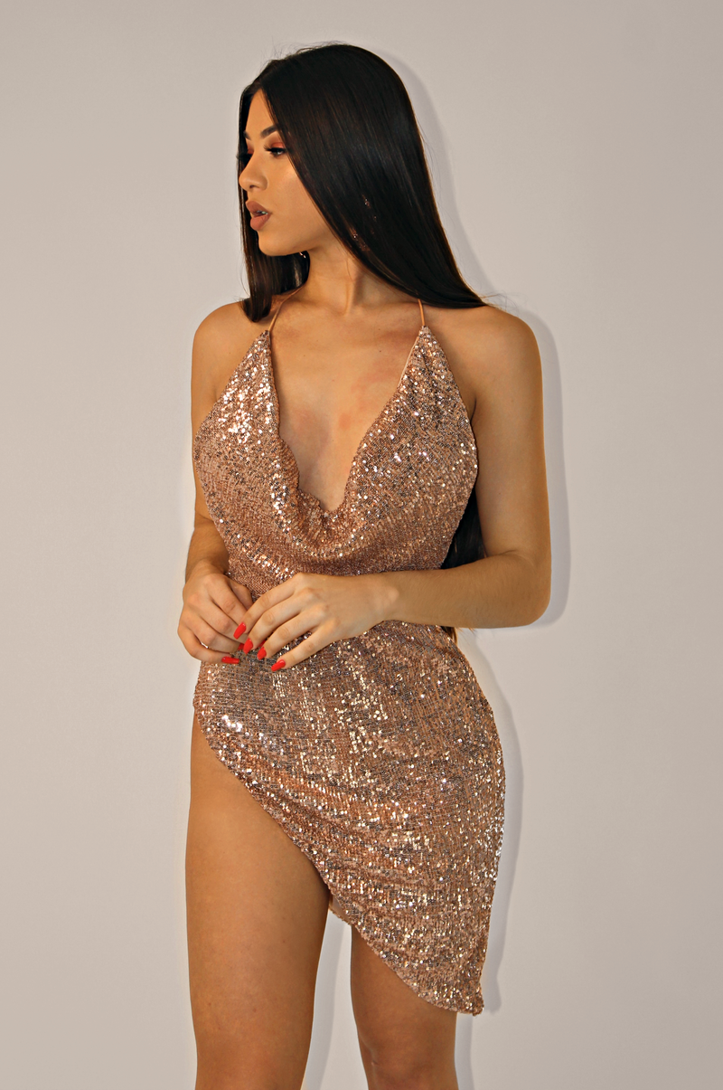 THE SAGITTARIUS SEQUINS DRESS `ROSE