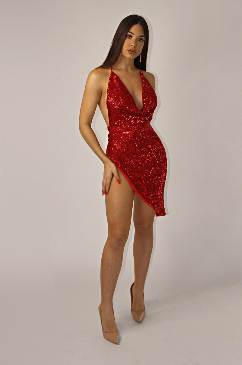 THE SAGITTARIUS SEQUINS DRESS `RED