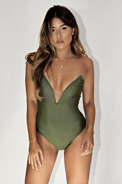 SOPHISTICATED ONE PIECE SWIM - OLIVE