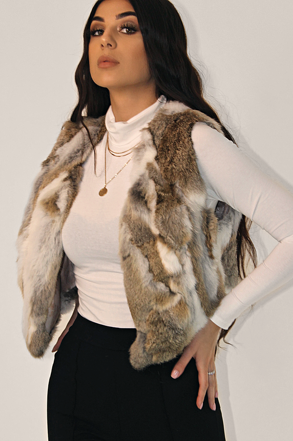 VIVID DREAMS 3 TONE FUR VEST COAT - CAMEL