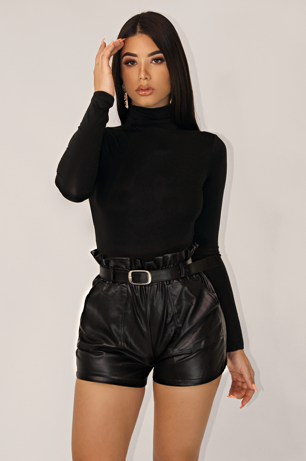 BLK DECEMBER RUFFLE WAIST LEATHER SHORTS