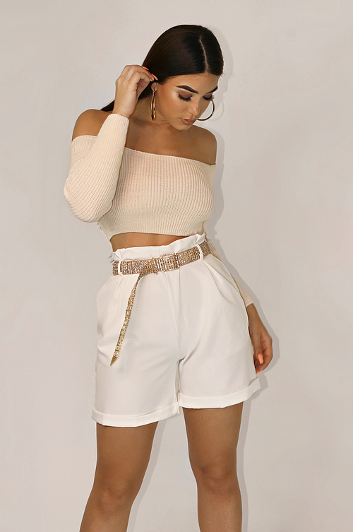 OFF WHITE FALL AESTHETIC CROPPED SWEATER TOP