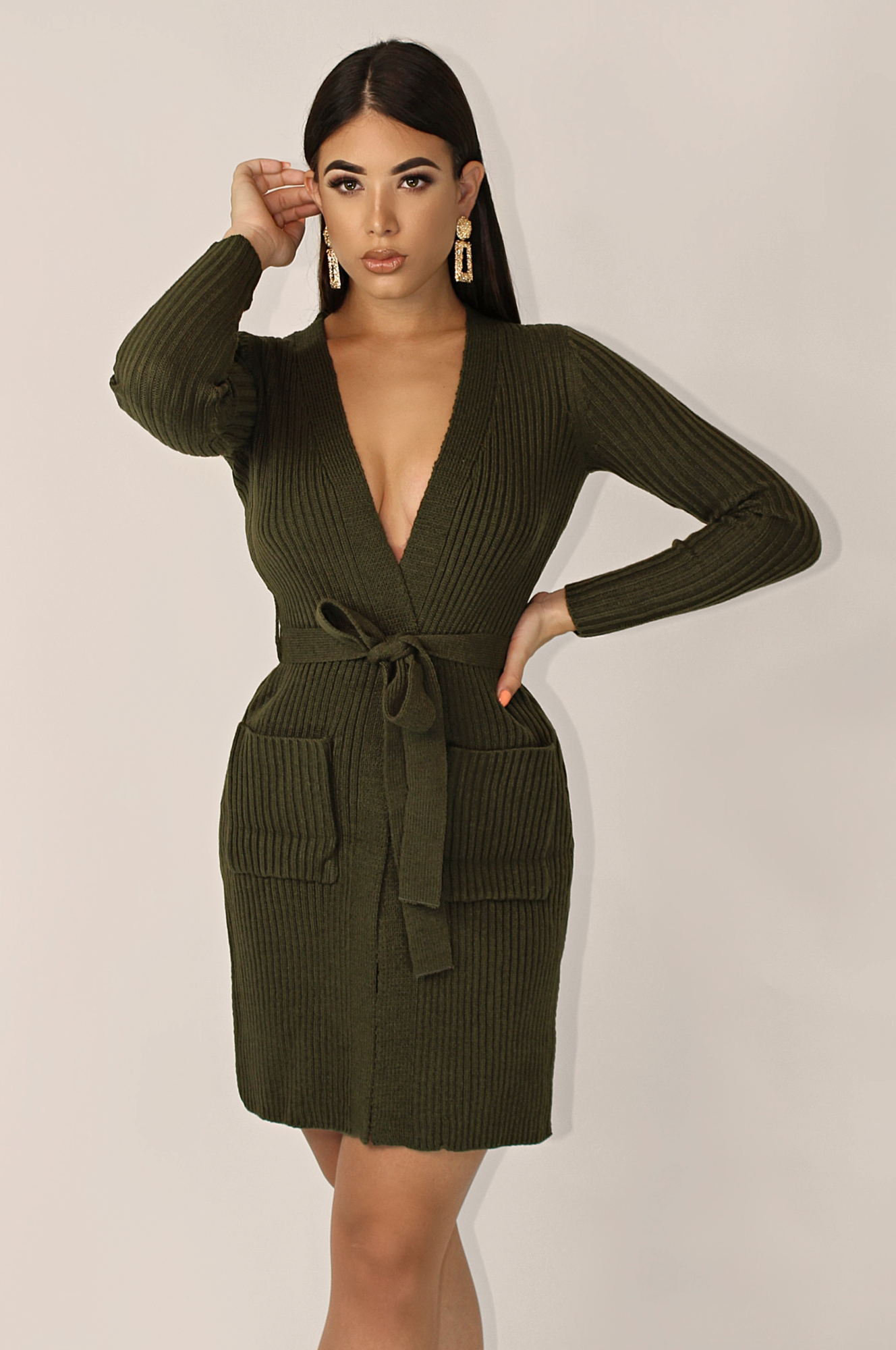 PROVERBS KNITTED CARDIGAN - OLIVE