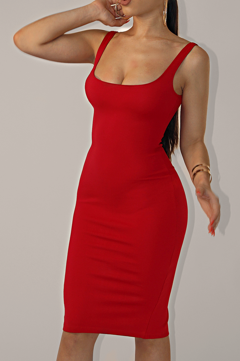 LUX BASICS TANK DRESS ` RED