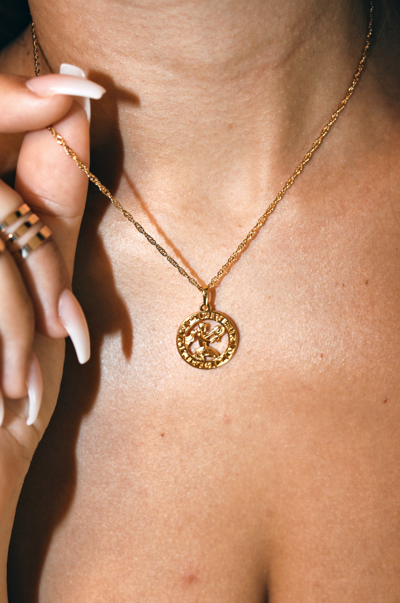 VIRGO 24K GOLD PLATED ZODIAC NECKLACE