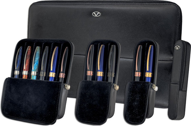 Visconti Dreamtouch Black Leather 3 Pen Pouch Case-Visconti-Truphae