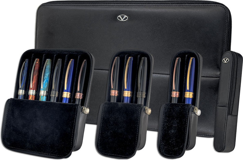 Visconti Dreamtouch Black Leather 6 Pen Pouch Case