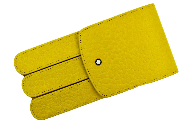 Montblanc Sun Bright Yellow Colored Leather Glove 3 Pen Pouch Case Model 46102