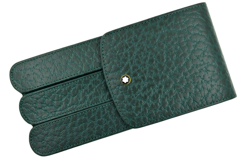 Montblanc Thuya Green Colored Leather Glove 3 Pen Pouch Case Model 46102