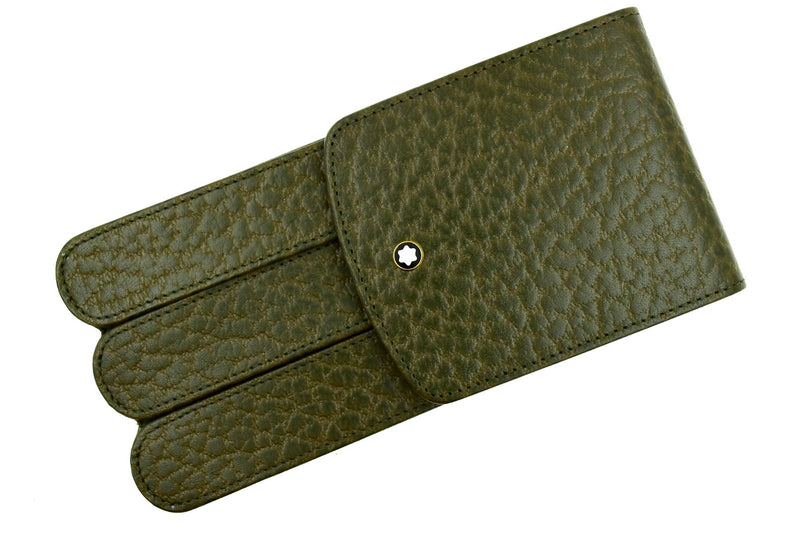 Montblanc Olive Military Green Leather Glove 3 Pen Pouch Case Model 46102