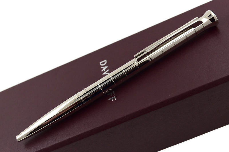 Davidoff Velero Metal Body Palladium Trim Striped Pattern Ballpoint Pen