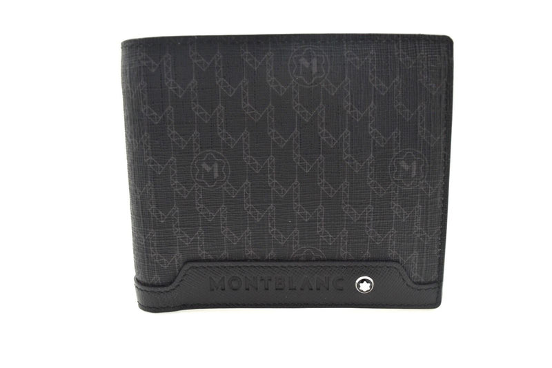 Montblanc Signature Black Canvas Wallet 4 Credit Card with Coin Case 106750