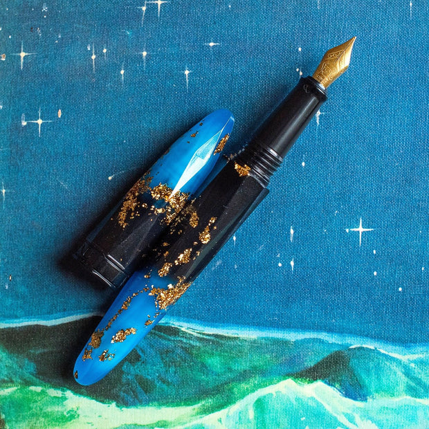 BENU Briolette Collection Luminous Sapphire Blue and Black & Gold Fountain Pen-BENU-Truphae