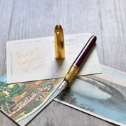 Cartier Louis Burgundy Marble & Gold Fountain Pen
