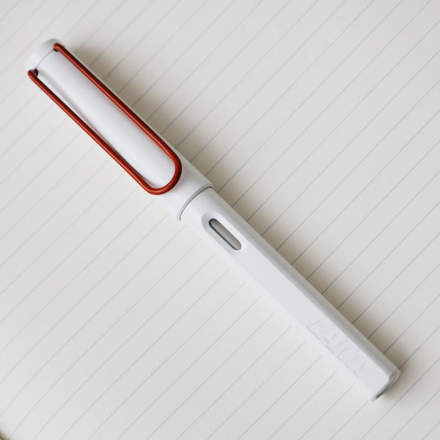 LAMY Safari Japan White with Red Clip 2010 Fountain Pen