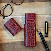 Montblanc Florence Bordeaux Crocodile Leather Pen Case