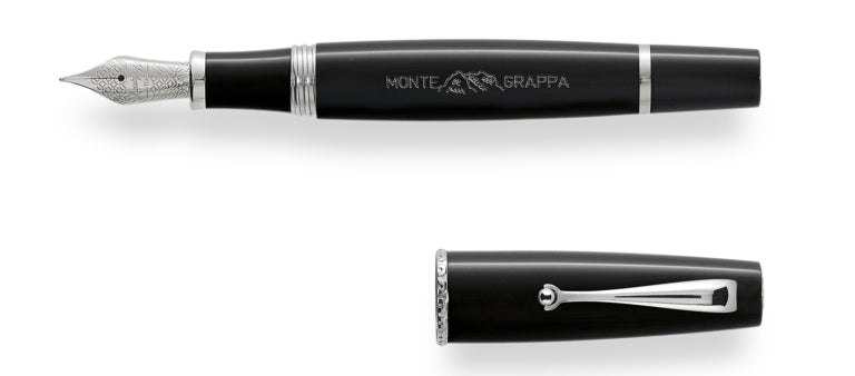 Montegrappa Monte-Grappa Black Resin Fountain Pen 14k Gold Nib