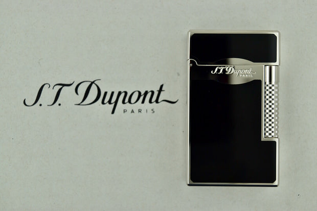 ST Dupont Le Grand Black Lacquer & Palladium Patterned Lighter ST023010-ST Dupont-Truphae