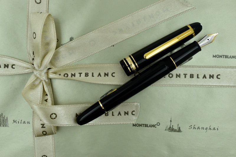 Montblanc Meisterstuck 145 Black & Yellow Gold Fountain Pen Broad B Nib 106515
