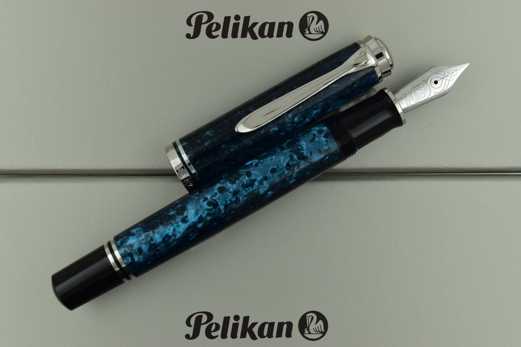 Pelikan M805 Special Edition Ocean Swirl Blue & Platinum Trim Fountain Pen