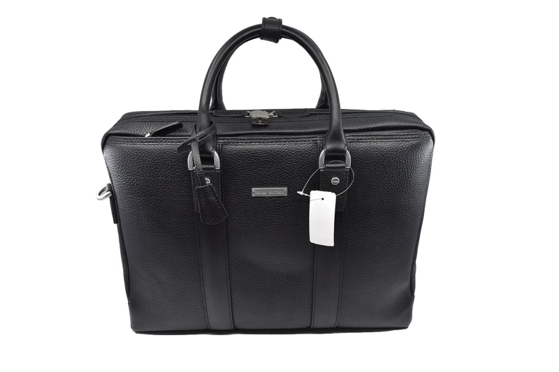 Brooks Brothers Briefcase Attache Bag Black Leather Padded Laptop Bag